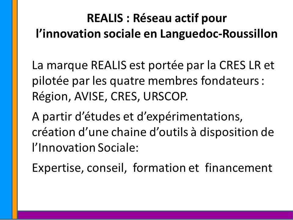 REALIS : Réseau actif pour linnovation sociale en Languedoc-Roussillon La marque REALIS est portée par la CRES LR et pilotée par les quatre membres fo