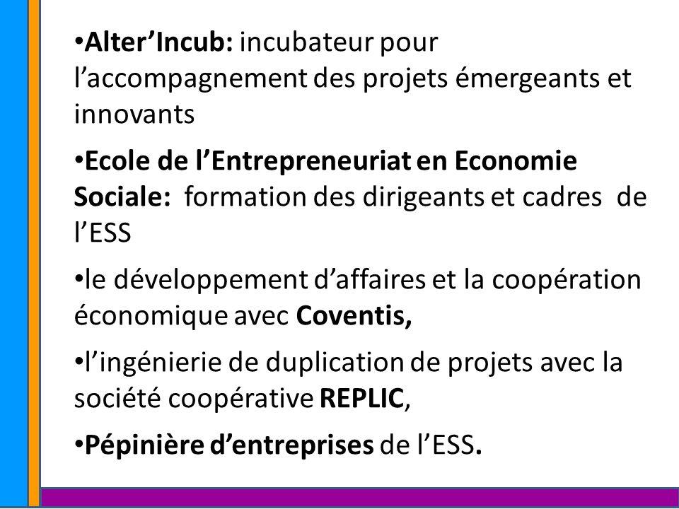 AlterIncub: incubateur pour laccompagnement des projets émergeants et innovants Ecole de lEntrepreneuriat en Economie Sociale: formation des dirigeant