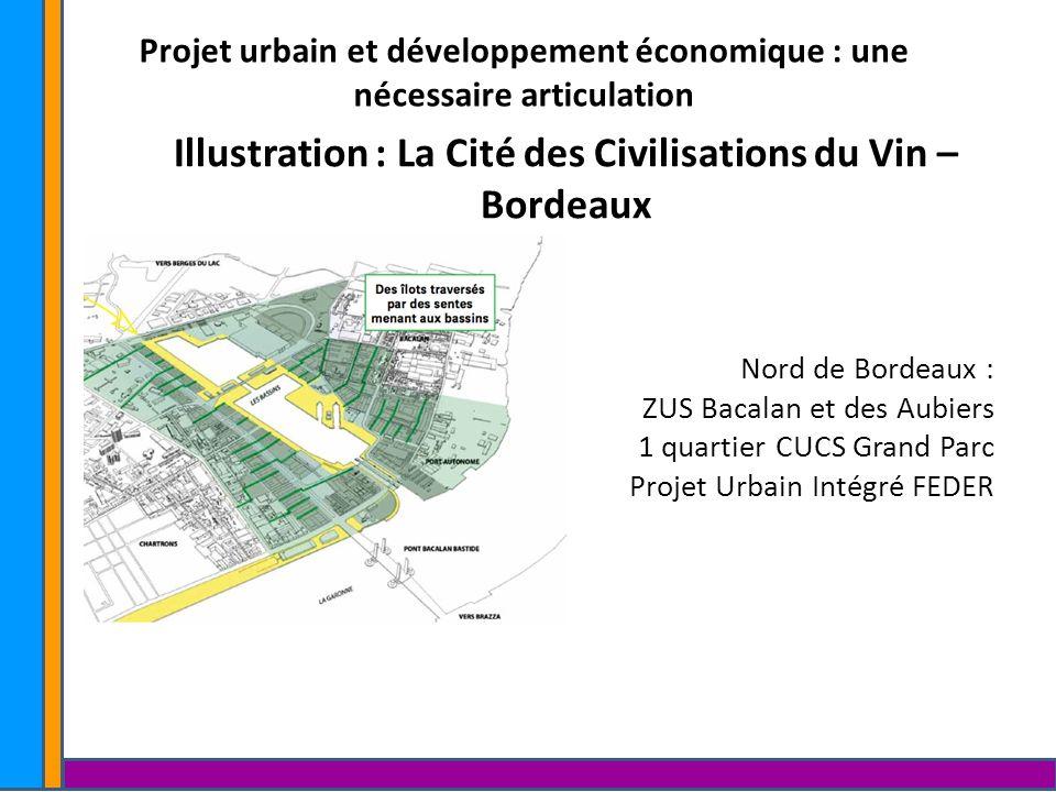 Projet urbain et développement économique : une nécessaire articulation Illustration : La Cité des Civilisations du Vin – Bordeaux Nord de Bordeaux :