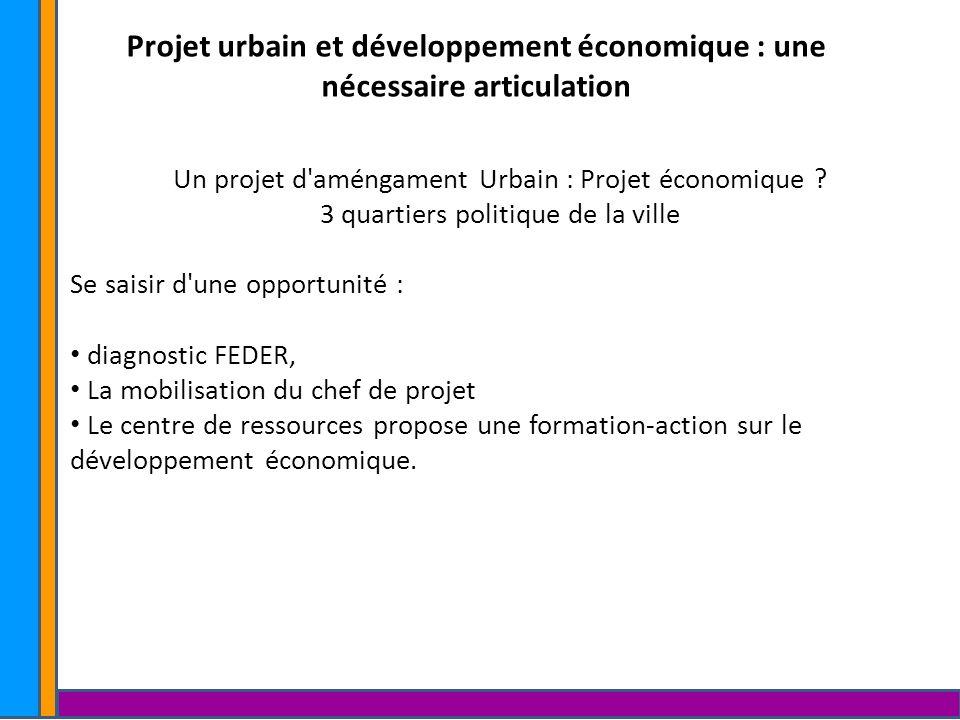 Projet urbain et développement économique : une nécessaire articulation Soutenir l activité économique en s appuyant sur la richesse et les ressources des habitants Constat dans le cadre de la ZFU et sur des Zones d activités : 1.