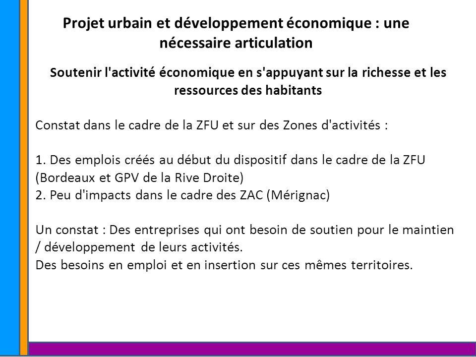 Projet urbain et développement économique : une nécessaire articulation Soutenir l activité économique en s appuyant sur la richesse et les ressources des habitants « La Fabrique à initiatives » : Conciergerie solidaire d entreprises.