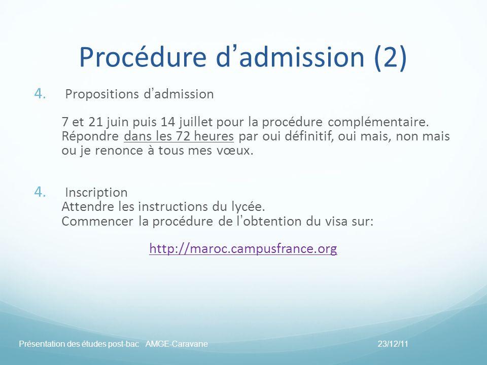 Procédure dadmission (2) 4. Propositions dadmission 7 et 21 juin puis 14 juillet pour la procédure complémentaire. Répondre dans les 72 heures par oui