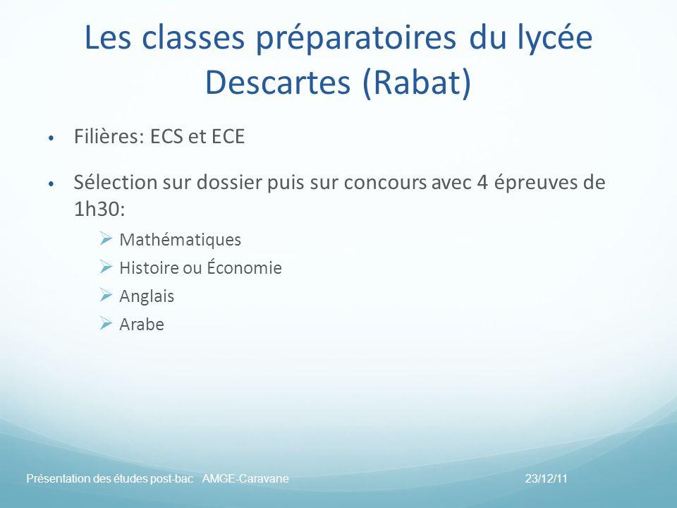 Les classes préparatoires du lycée Descartes (Rabat) Filières: ECS et ECE Sélection sur dossier puis sur concours avec 4 épreuves de 1h30: Mathématiqu