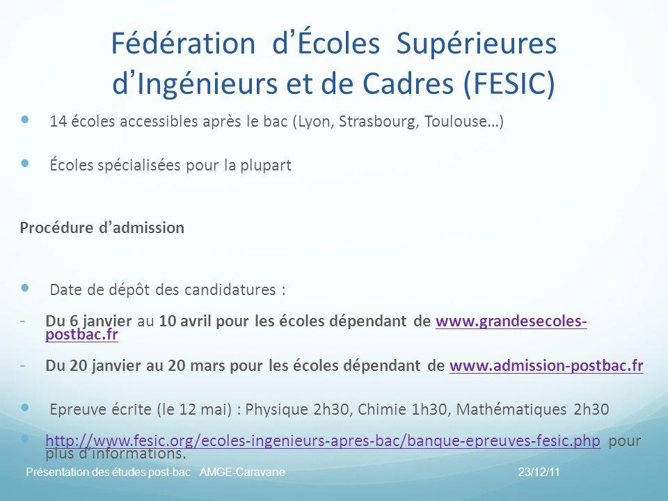 Fédération dÉcoles Supérieures dIngénieurs et de Cadres (FESIC) 14 écoles accessibles après le bac (Lyon, Strasbourg, Toulouse…) Écoles spécialisées p