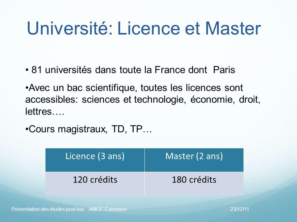 Université: Licence et Master 81 universités dans toute la France dont Paris Avec un bac scientifique, toutes les licences sont accessibles: sciences