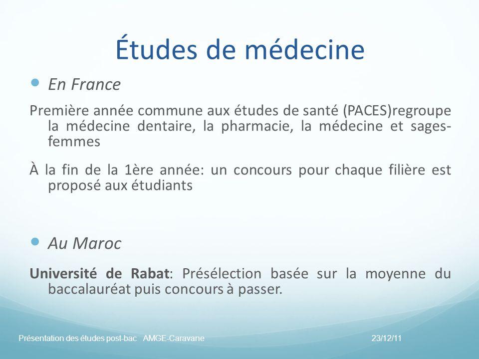 Études de médecine En France Première année commune aux études de santé (PACES)regroupe la médecine dentaire, la pharmacie, la médecine et sages- femm
