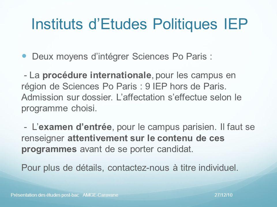 Instituts dEtudes Politiques IEP Deux moyens dintégrer Sciences Po Paris : - La procédure internationale, pour les campus en région de Sciences Po Par