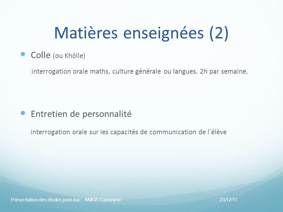 Matières enseignées (2) Colle (ou Khôlle) interrogation orale maths, culture générale ou langues. 2h par semaine. Entretien de personnalité interrogat