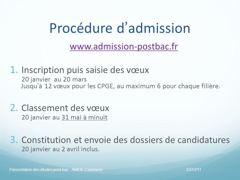 Procédure dadmission www.admission-postbac.fr 1. Inscription puis saisie des vœux 20 janvier au 20 mars Jusquà 12 vœux pour les CPGE, au maximum 6 pou