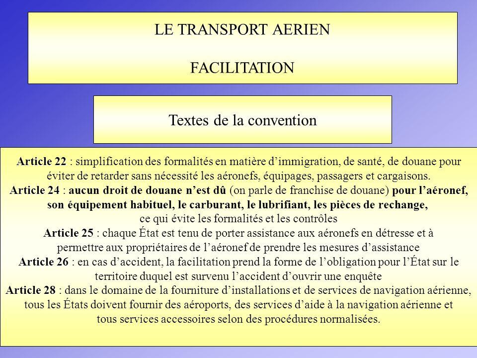 LE TRANSPORT AERIEN FACILITATION Article 22 Article 22 : simplification des formalités en matière dimmigration, de santé, de douane pour éviter de ret