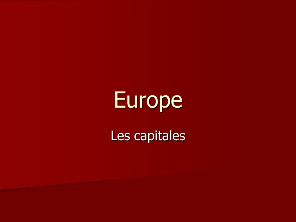 Europe Les capitales