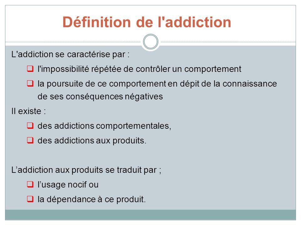 Définition de l'addiction L'addiction se caractérise par : l'impossibilité répétée de contrôler un comportement la poursuite de ce comportement en dép