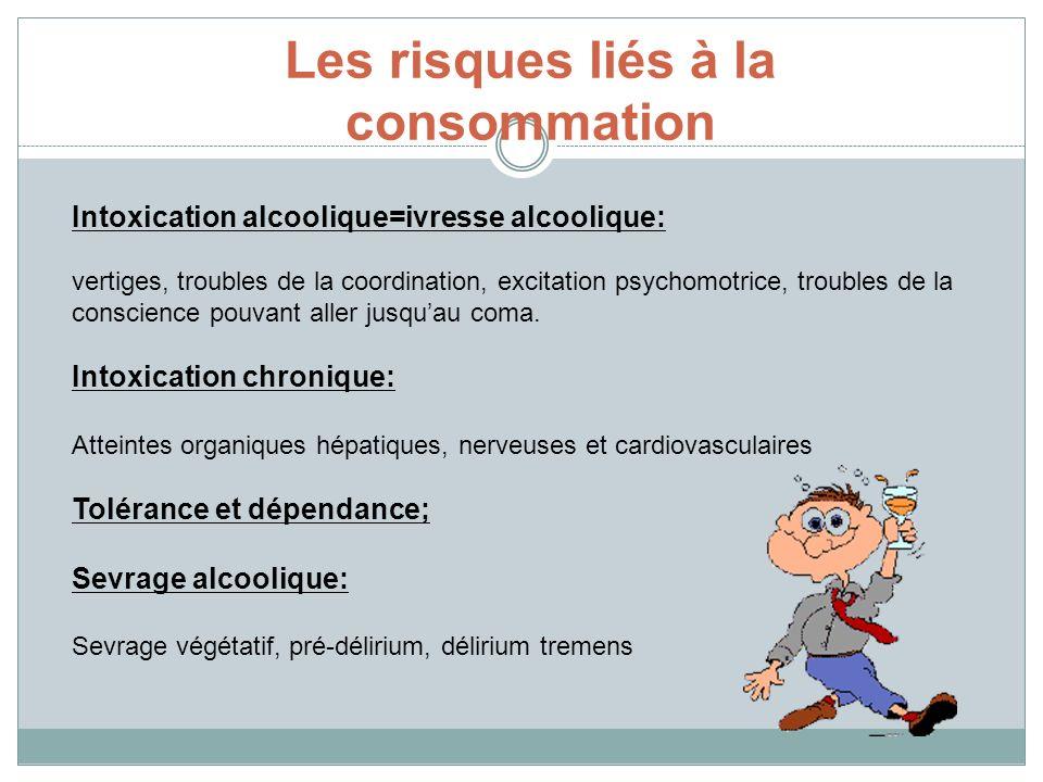 Les risques liés à la consommation Intoxication alcoolique=ivresse alcoolique: vertiges, troubles de la coordination, excitation psychomotrice, troubl