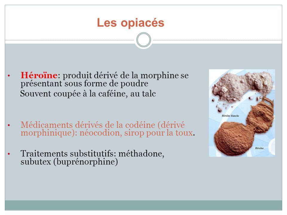 Les opiacés Héroïne: produit dérivé de la morphine se présentant sous forme de poudre Souvent coupée à la caféine, au talc Médicaments dérivés de la c