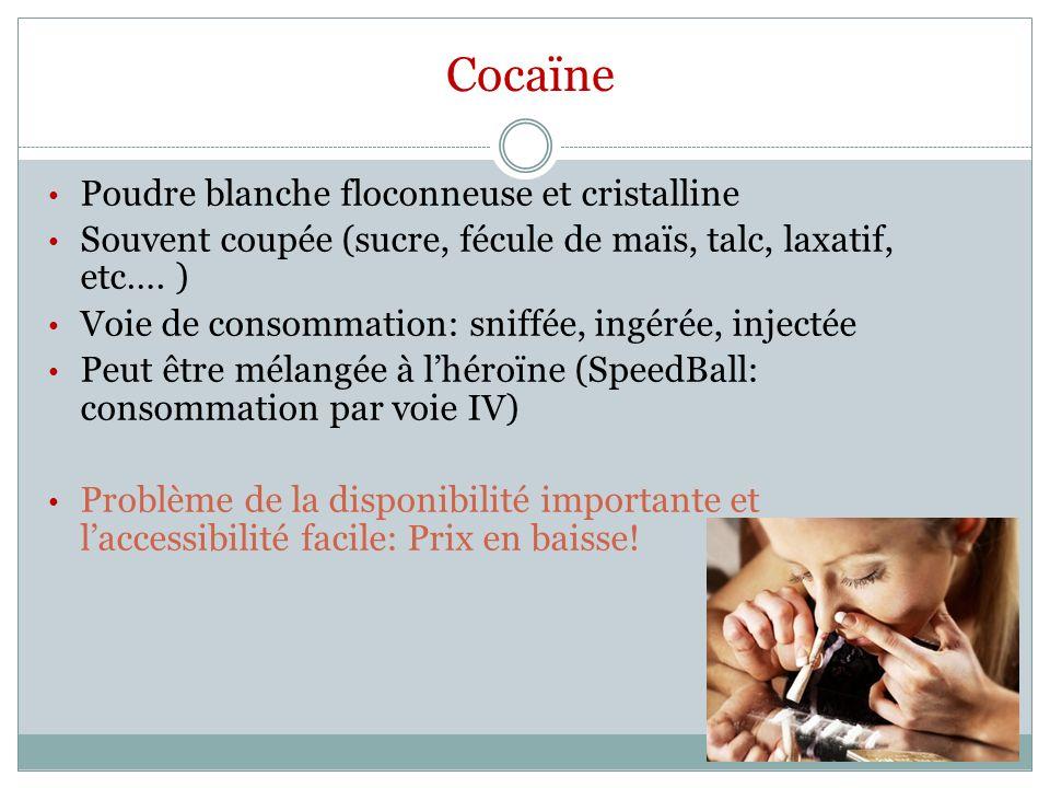 Cocaïne Poudre blanche floconneuse et cristalline Souvent coupée (sucre, fécule de maïs, talc, laxatif, etc…. ) Voie de consommation: sniffée, ingérée