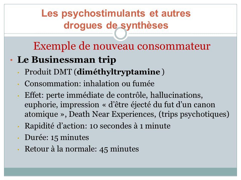 Exemple de nouveau consommateur Le Businessman trip Produit DMT (diméthyltryptamine ) Consommation: inhalation ou fumée Effet: perte immédiate de cont