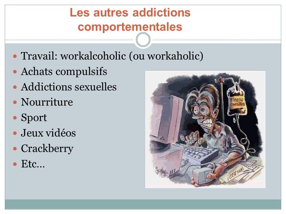 Travail: workalcoholic (ou workaholic) Achats compulsifs Addictions sexuelles Nourriture Sport Jeux vidéos Crackberry Etc… Les autres addictions compo