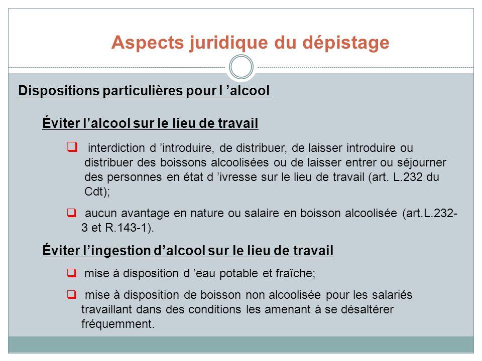 Dispositions particulières pour l alcool Éviter lalcool sur le lieu de travail interdiction d introduire, de distribuer, de laisser introduire ou dist