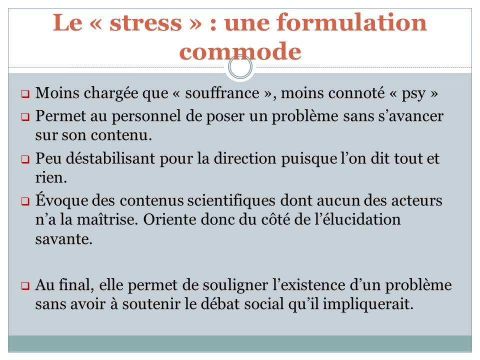 Le « stress » : une formulation commode Moins chargée que « souffrance », moins connoté « psy » Permet au personnel de poser un problème sans savancer