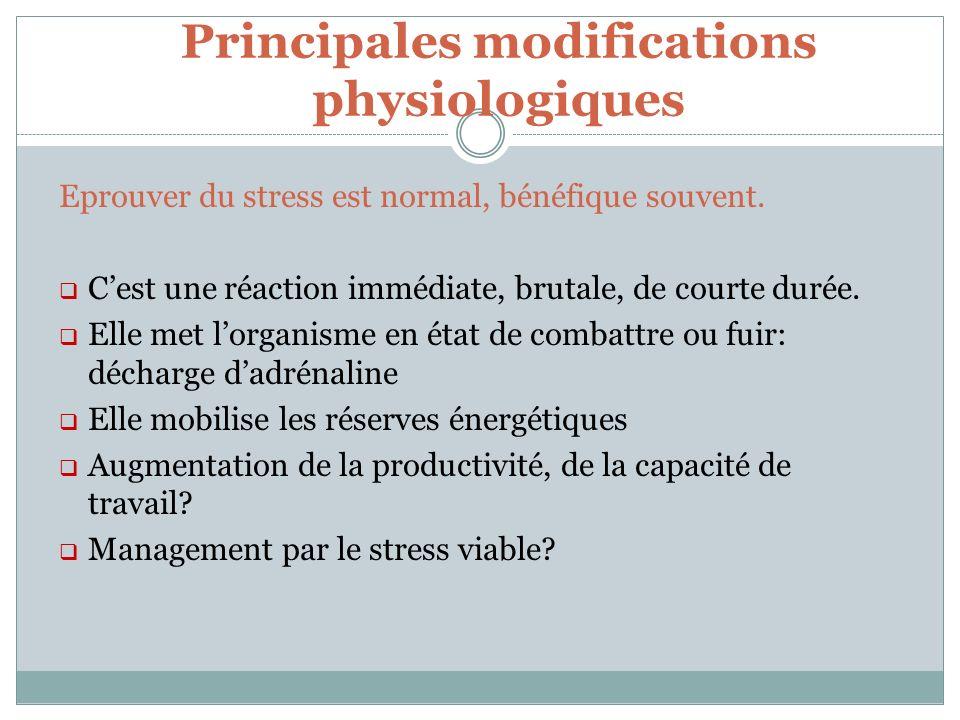 Principales modifications physiologiques Eprouver du stress est normal, bénéfique souvent. Cest une réaction immédiate, brutale, de courte durée. Elle