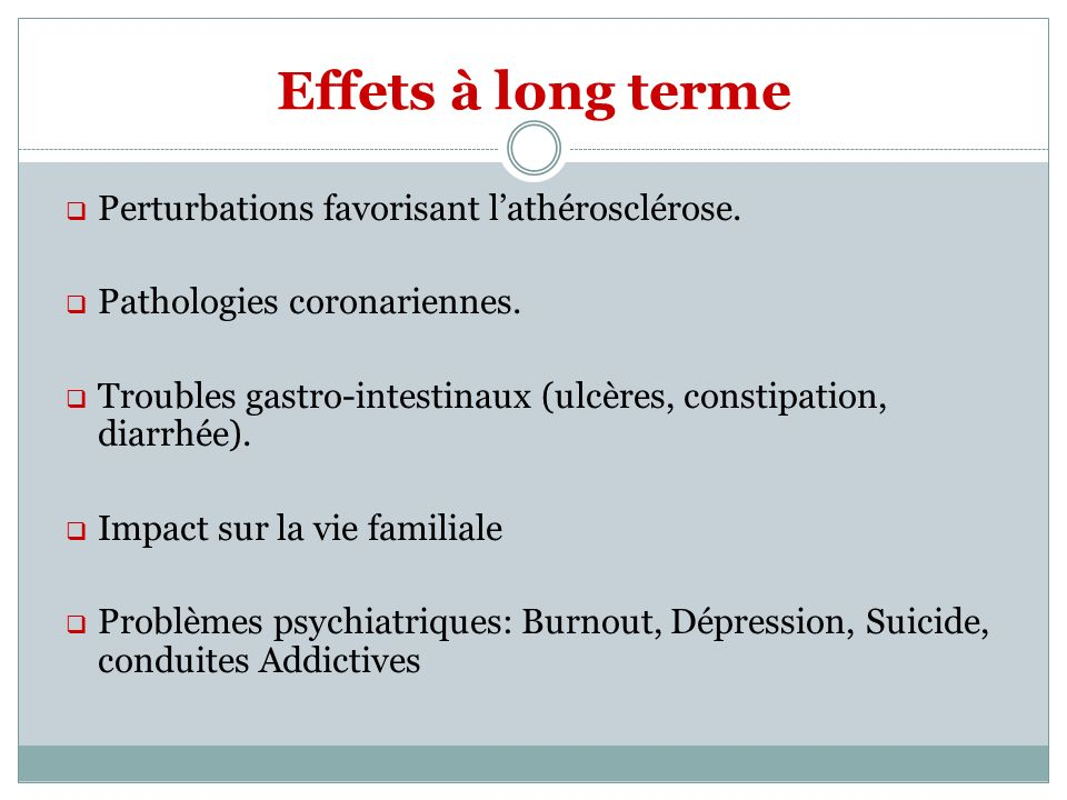 Effets à long terme Perturbations favorisant lathérosclérose. Pathologies coronariennes. Troubles gastro-intestinaux (ulcères, constipation, diarrhée)