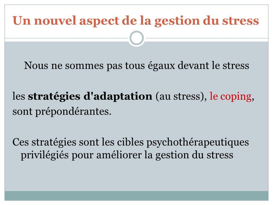 Un nouvel aspect de la gestion du stress Nous ne sommes pas tous égaux devant le stress les stratégies d'adaptation (au stress), le coping, sont prépo