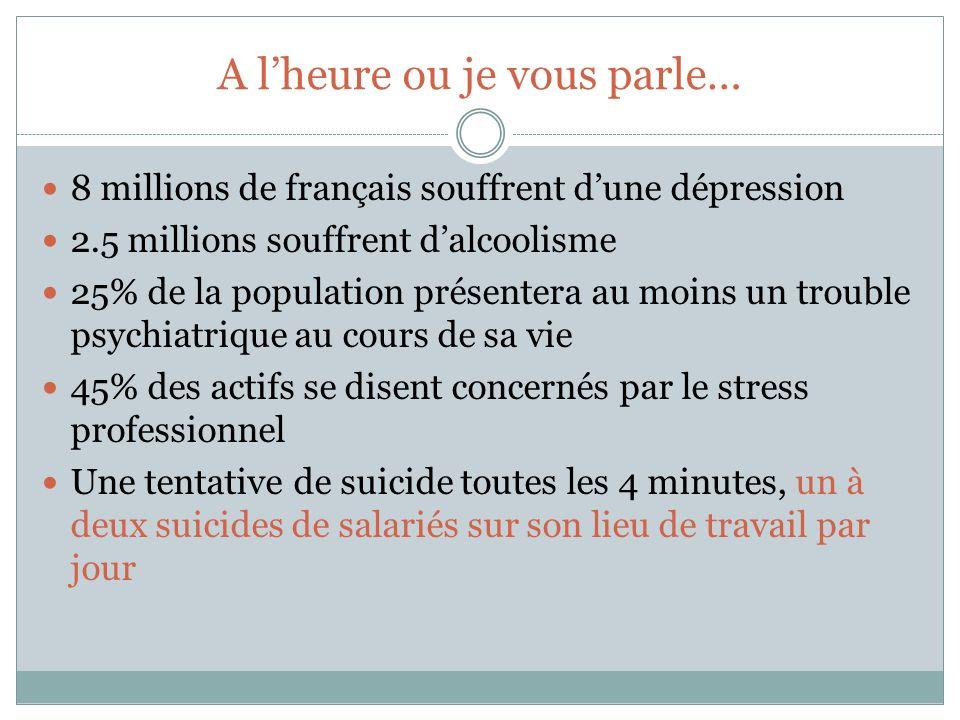 A lheure ou je vous parle… 8 millions de français souffrent dune dépression 2.5 millions souffrent dalcoolisme 25% de la population présentera au moin