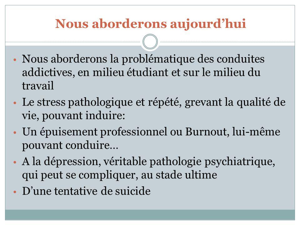 Plan 1. Conduites addictives 1. Stress et Burnout 2. Dépression 3. Suicide