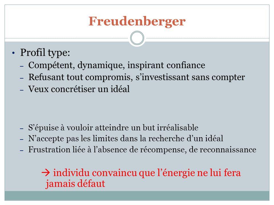 Freudenberger Profil type: – Compétent, dynamique, inspirant confiance – Refusant tout compromis, sinvestissant sans compter – Veux concrétiser un idé