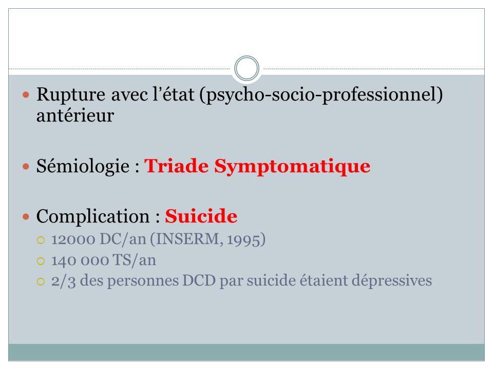 Rupture avec létat (psycho-socio-professionnel) antérieur Sémiologie : Triade Symptomatique Complication : Suicide 12000 DC/an (INSERM, 1995) 140 000