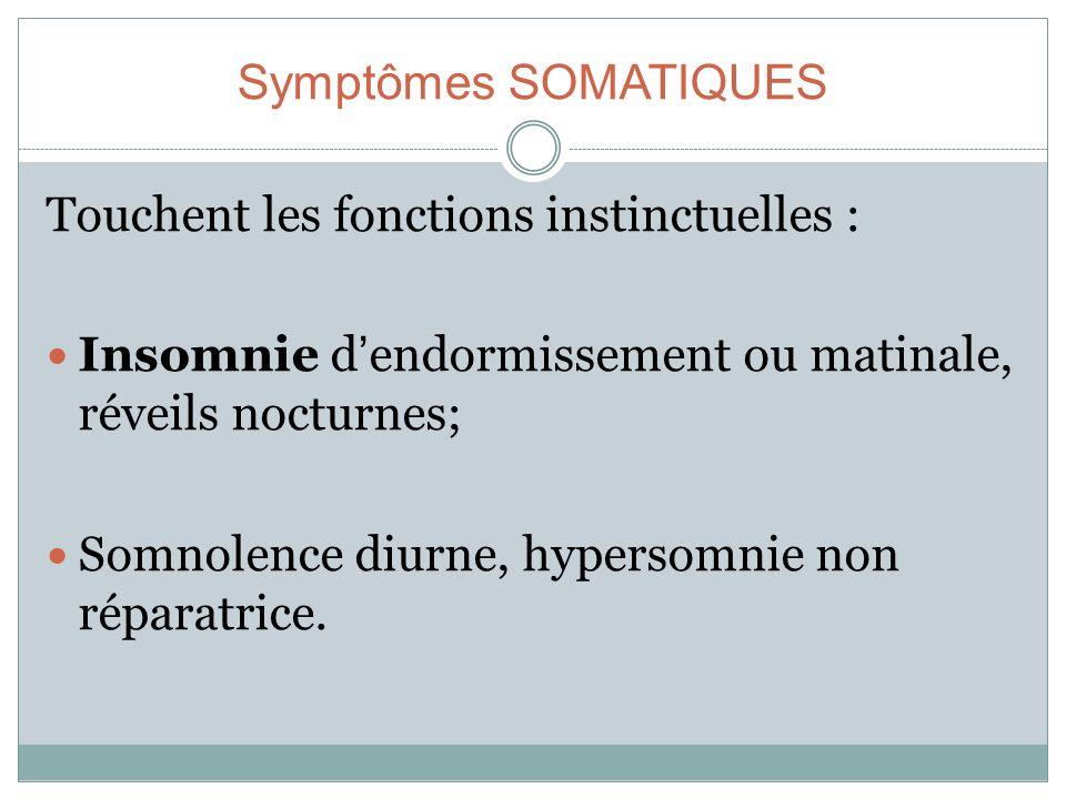 Symptômes SOMATIQUES Touchent les fonctions instinctuelles : Insomnie dendormissement ou matinale, réveils nocturnes; Somnolence diurne, hypersomnie n