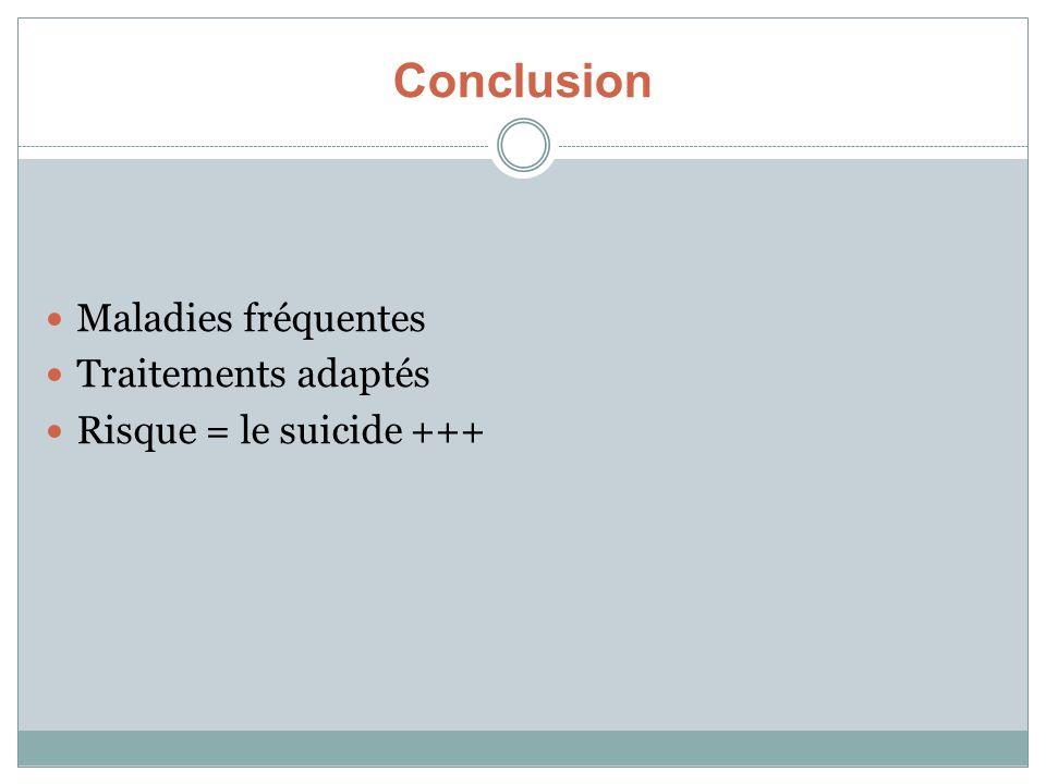 Conclusion Maladies fréquentes Traitements adaptés Risque = le suicide +++