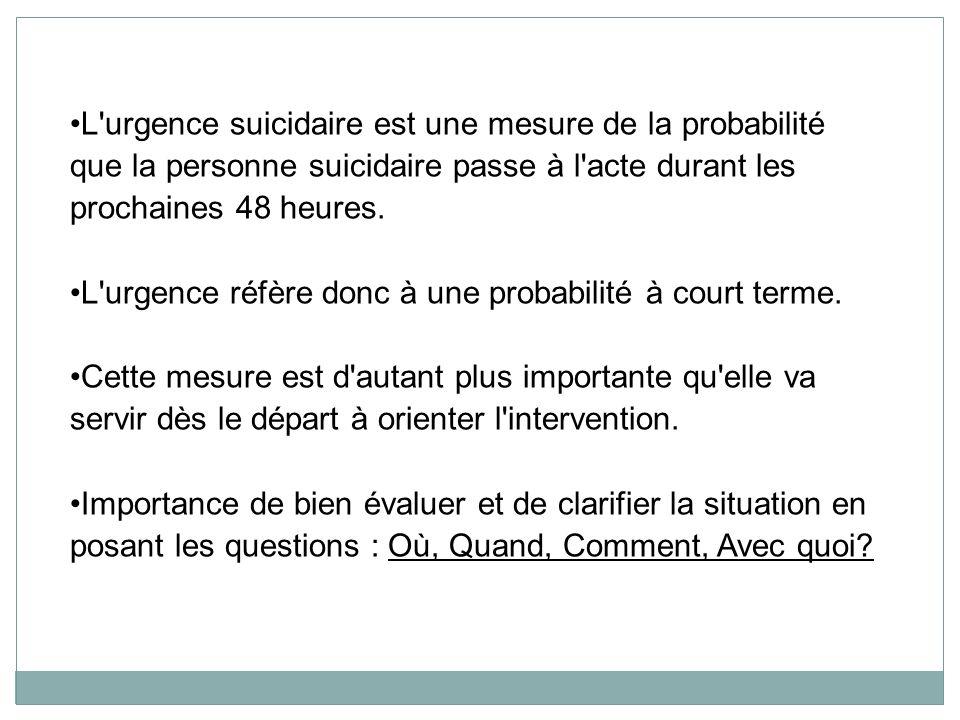 L'urgence suicidaire est une mesure de la probabilité que la personne suicidaire passe à l'acte durant les prochaines 48 heures. L'urgence réfère donc