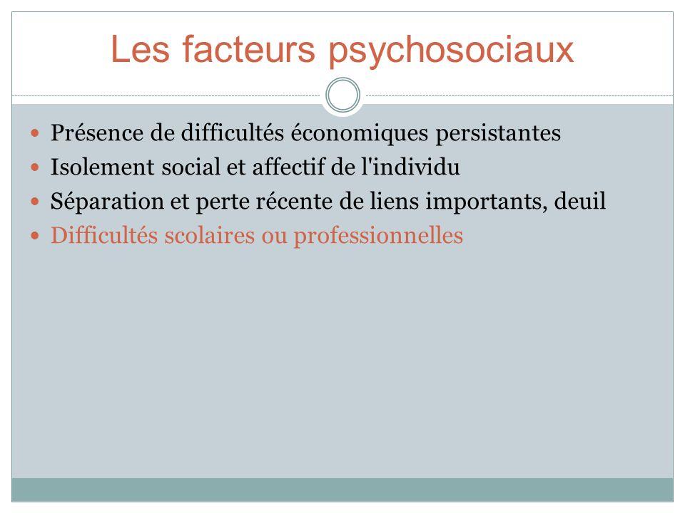 Les facteurs psychosociaux Présence de difficultés économiques persistantes Isolement social et affectif de l'individu Séparation et perte récente de