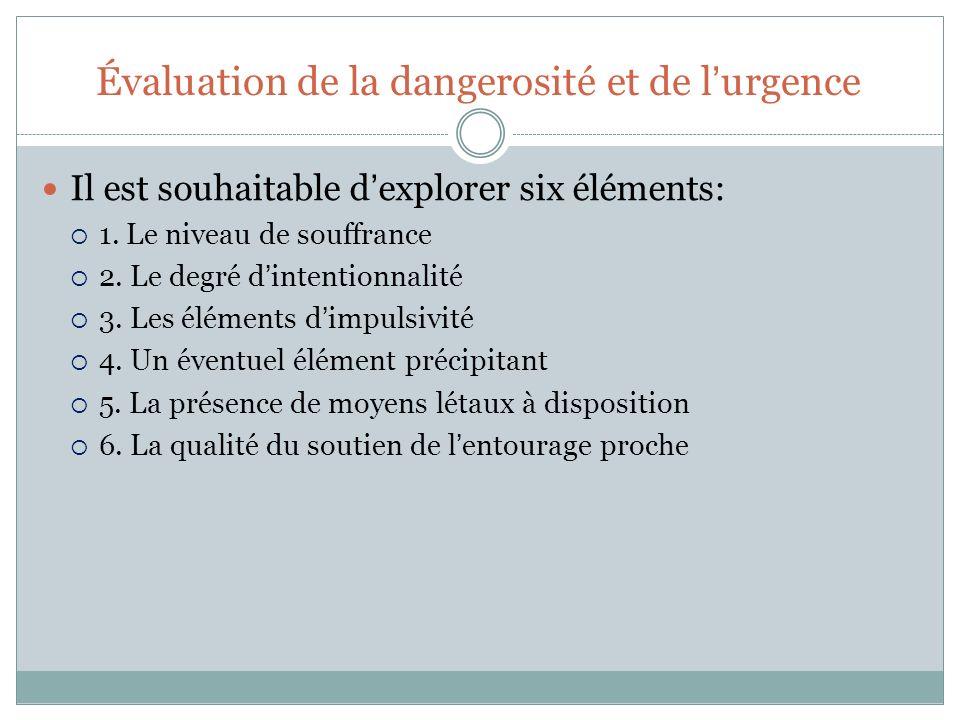 Évaluation de la dangerosité et de lurgence Il est souhaitable dexplorer six éléments: 1. Le niveau de souffrance 2. Le degré dintentionnalité 3. Les