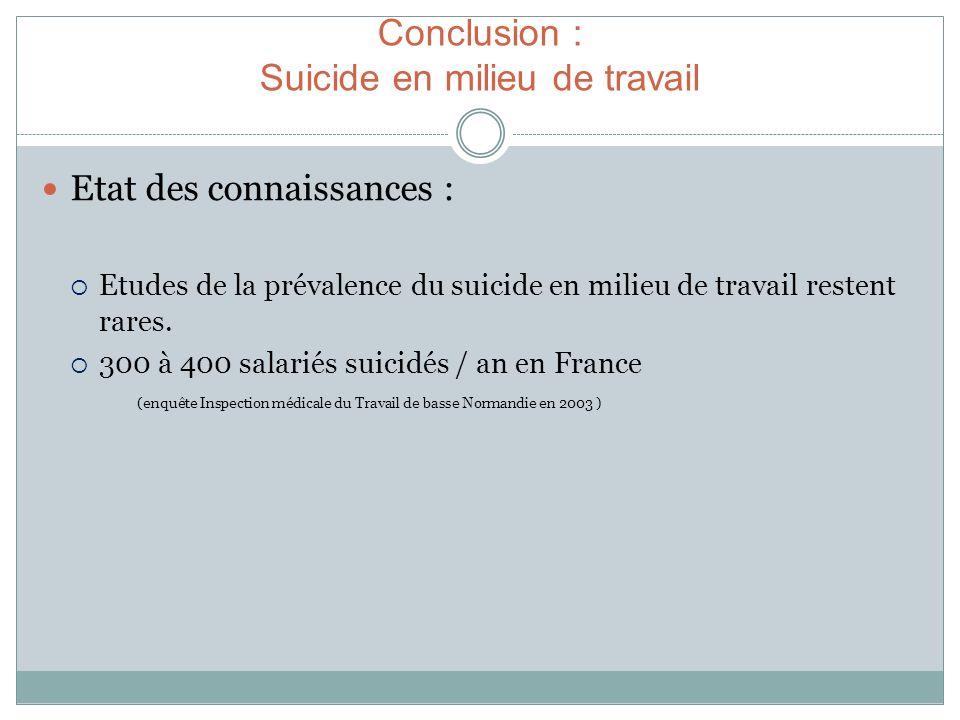 Conclusion : Suicide en milieu de travail Etat des connaissances : Etudes de la prévalence du suicide en milieu de travail restent rares. 300 à 400 sa