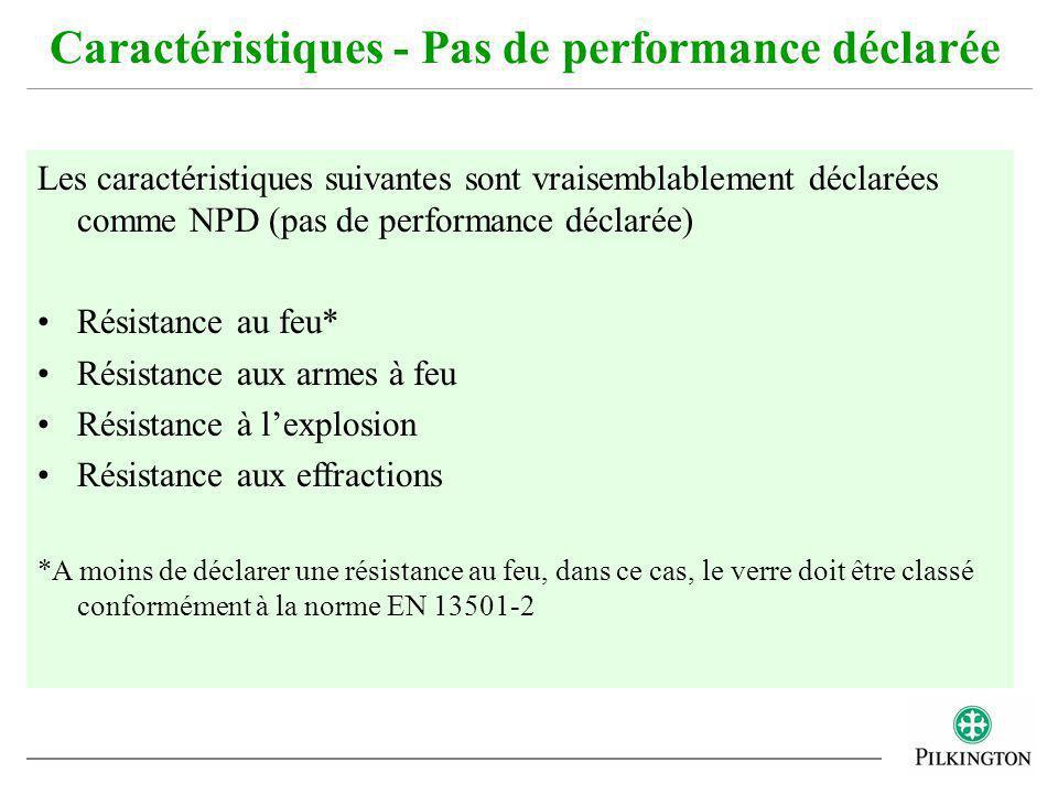 Les caractéristiques suivantes sont vraisemblablement déclarées comme NPD (pas de performance déclarée) Résistance au feu* Résistance aux armes à feu