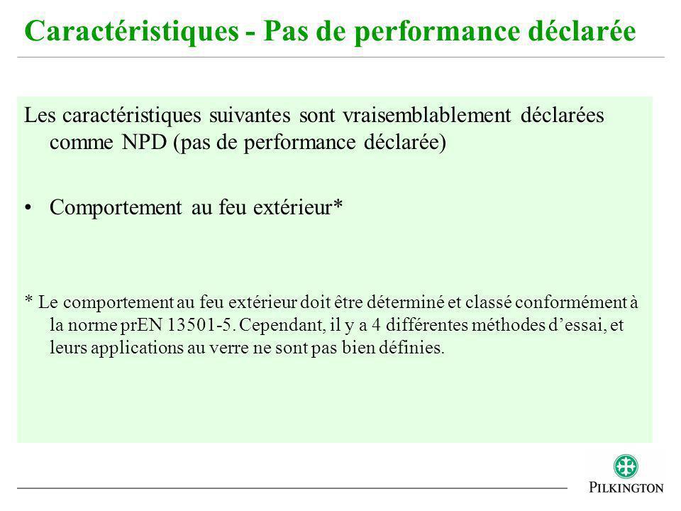 Les caractéristiques suivantes sont vraisemblablement déclarées comme NPD (pas de performance déclarée) Comportement au feu extérieur* * Le comporteme
