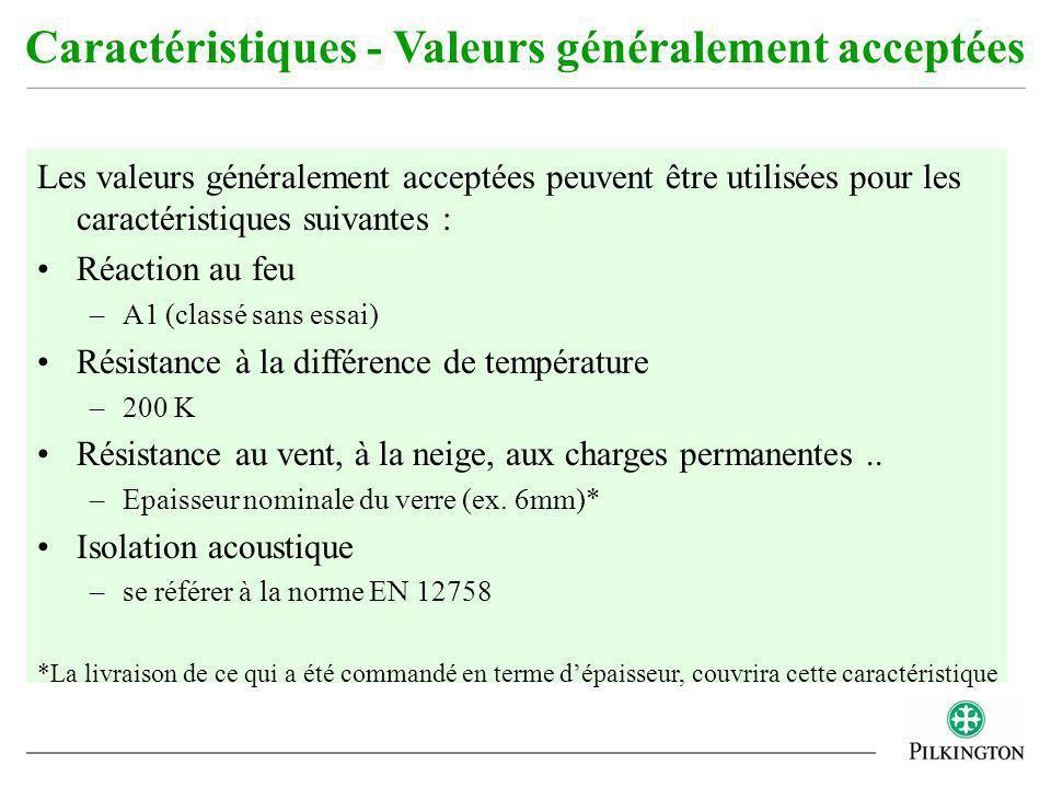 Les valeurs généralement acceptées peuvent être utilisées pour les caractéristiques suivantes : Réaction au feu –A1 (classé sans essai) Résistance à l