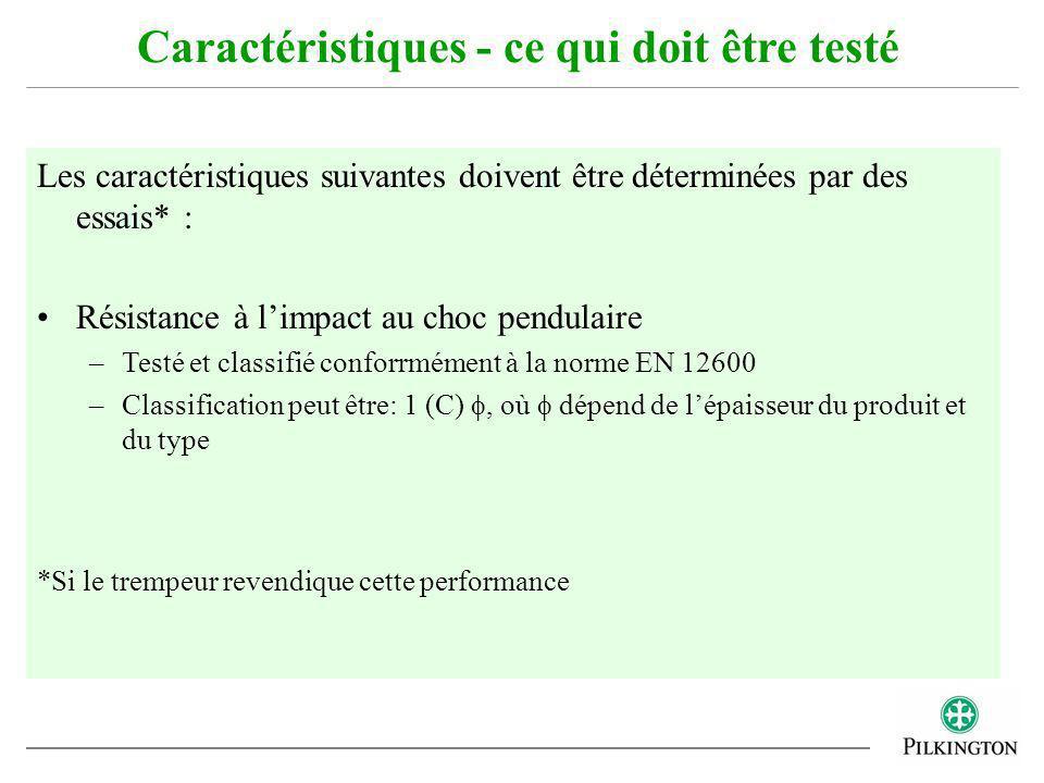Les caractéristiques suivantes doivent être déterminées par des essais* : Résistance à limpact au choc pendulaire –Testé et classifié conforrmément à
