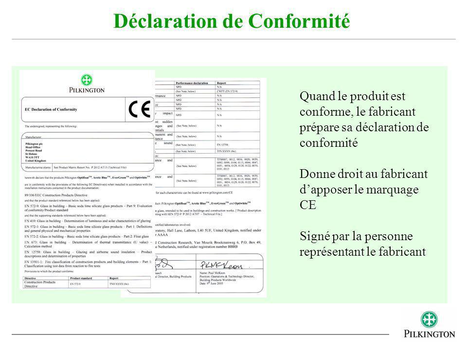 Déclaration de Conformité Quand le produit est conforme, le fabricant prépare sa déclaration de conformité Donne droit au fabricant dapposer le marqua