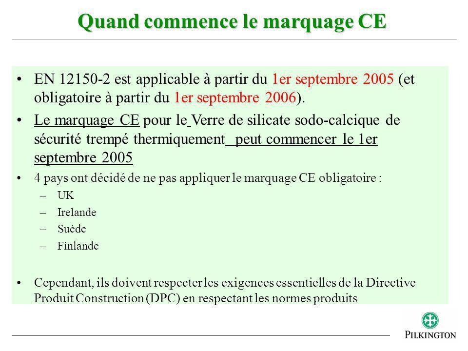 EN 12150-2 est applicable à partir du 1er septembre 2005 (et obligatoire à partir du 1er septembre 2006). Le marquage CE pour le Verre de silicate sod
