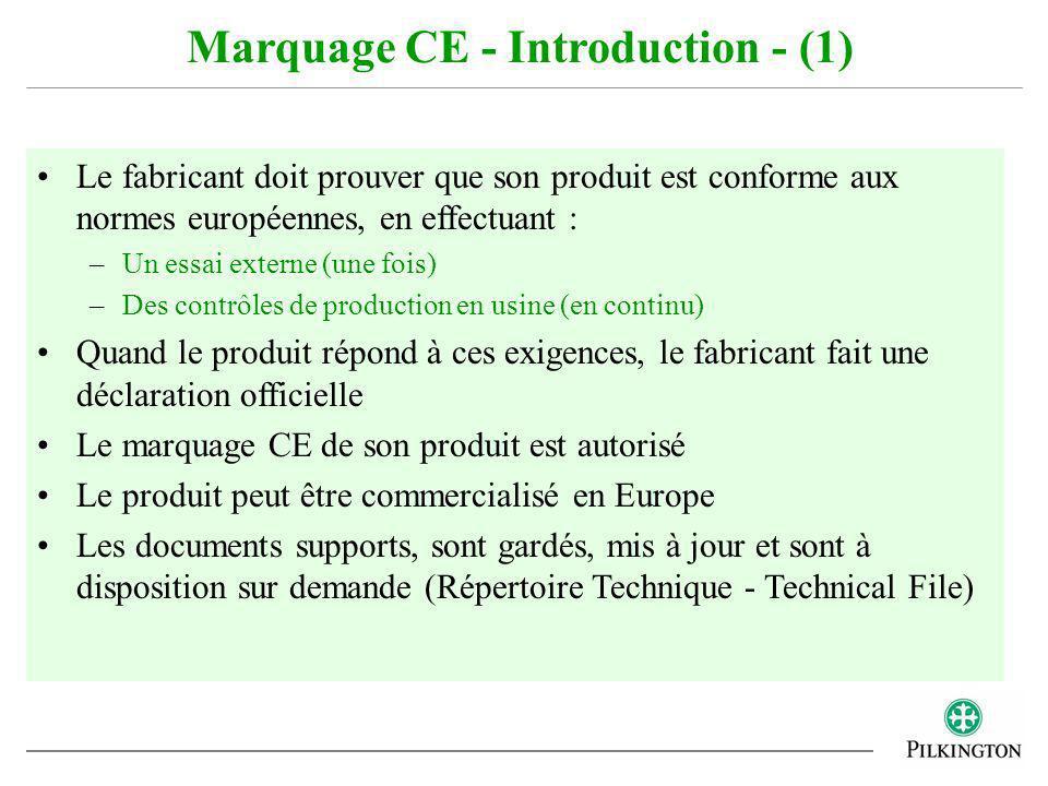Le fabricant doit prouver que son produit est conforme aux normes européennes, en effectuant : –Un essai externe (une fois) –Des contrôles de producti