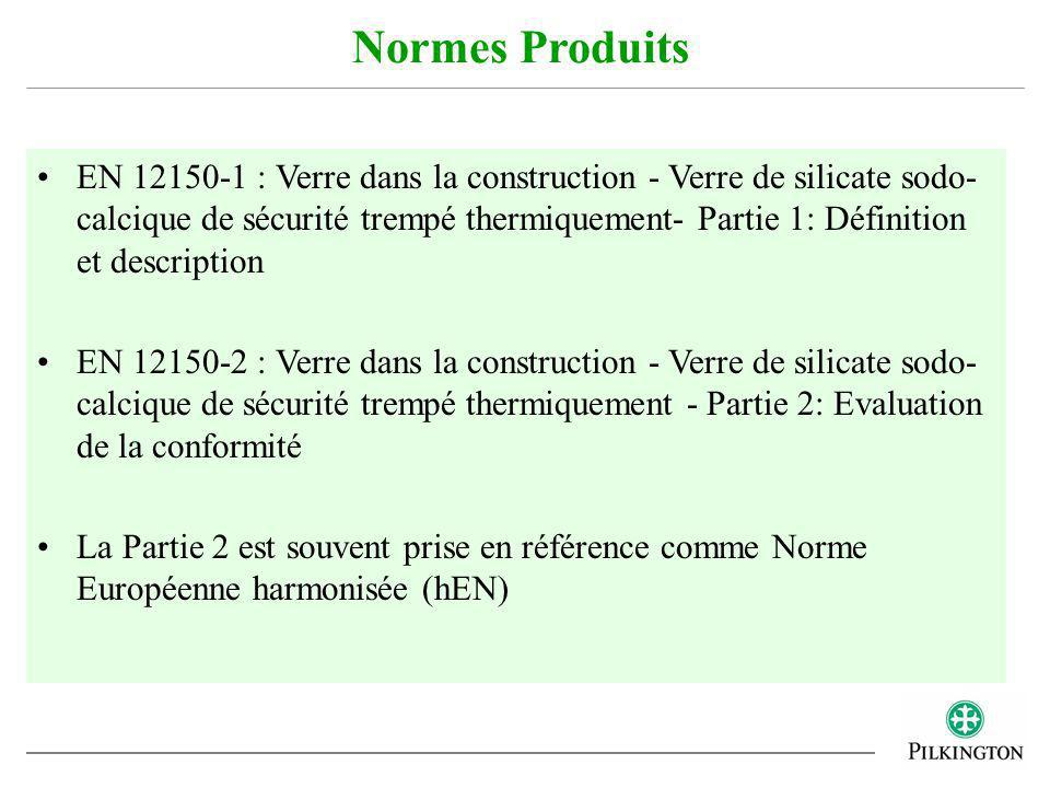 Le verre trempé doit être marqué de façon indélébile conformément à larticle 10 de la norme EN 12150-1, qui inclut: –Nom du produit ou marque commerciale –Référence à la norme EN 12150 Dans certains pays (ex.