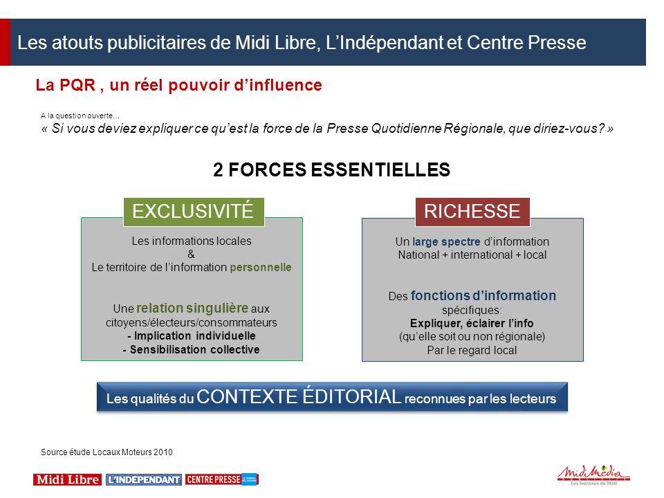 La PQR, un réel pouvoir dinfluence A la question ouverte… « Si vous deviez expliquer ce quest la force de la Presse Quotidienne Régionale, que diriez-