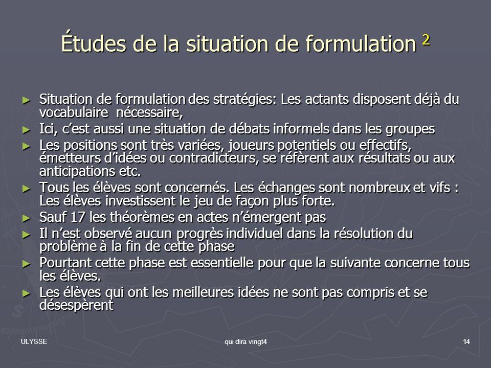 ULYSSEqui dira vingt414 Études de la situation de formulation 2 Situation de formulation des stratégies: Les actants disposent déjà du vocabulaire néc