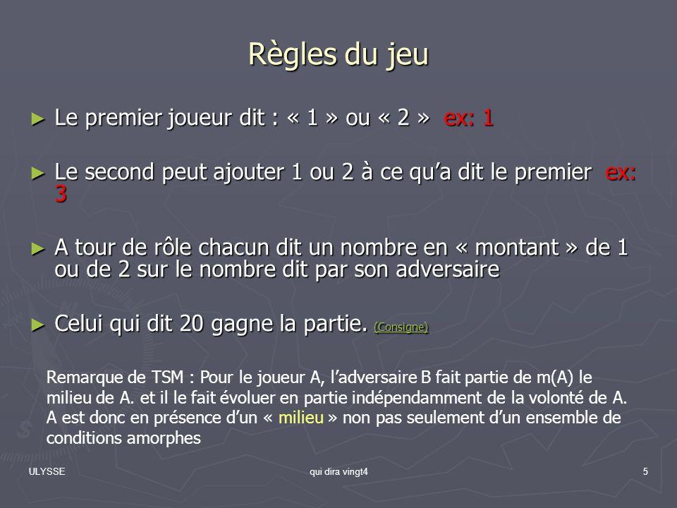 ULYSSEqui dira vingt45 Règles du jeu Le premier joueur dit : « 1 » ou « 2 » ex: 1 Le premier joueur dit : « 1 » ou « 2 » ex: 1 Le second peut ajouter