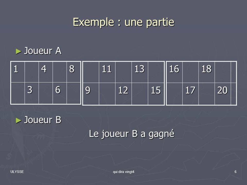 ULYSSEqui dira vingt46 Exemple : une partie Joueur A Joueur A Joueur B Joueur B Le joueur B a gagné 148 3611139121516181720