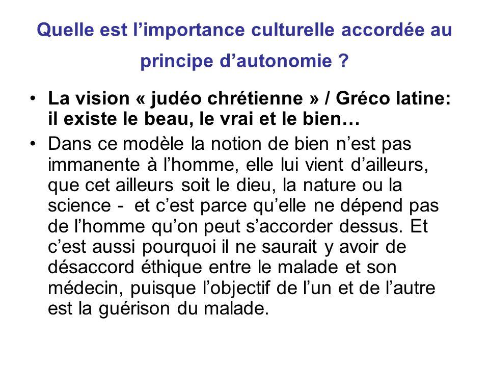 Quelle est limportance culturelle accordée au principe dautonomie .
