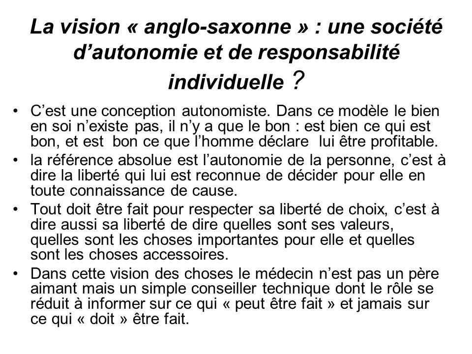 La vision « anglo-saxonne » : une société dautonomie et de responsabilité individuelle ? Cest une conception autonomiste. Dans ce modèle le bien en so